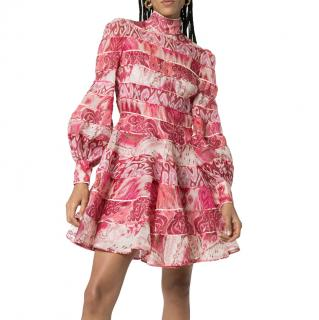 Zimmerman Pink Spliced Ikat Print Mini Dress
