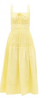 Self Portrait Belted Shirred Cotton Poplin Midi Dress