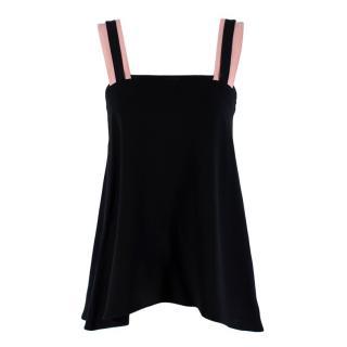 Roksanda Strappy Black & Pink Ribbon Camisole Top