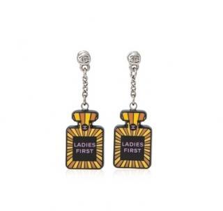 Chanel Ladies First black & yellow resin earrings