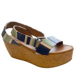See by Chloe Striped Wedge Sandals