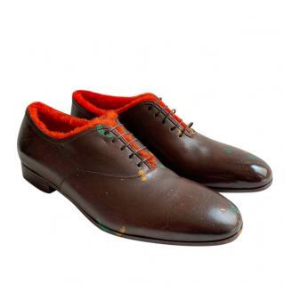 Ferragamo Calf Leather Orange Shearling Lined Derbies