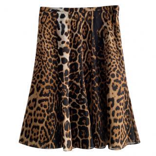 Yves Saint Laurent by Stefano Pilati Leopard Print Georgette Skirt