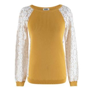 Moschino Cheap & Chic Mustard Knit Lace Sleeve Jumper