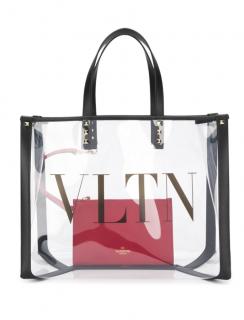 Valentino Garavani small VLTN logo transparent tote bag