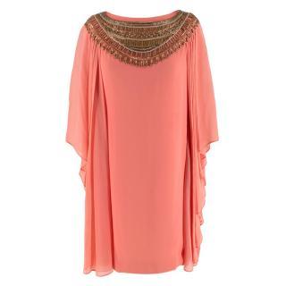 Marchesa Salmon Pink Silk Embellished Tunic