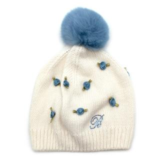 Blumarine Baby Blue Rose Bobble Hat