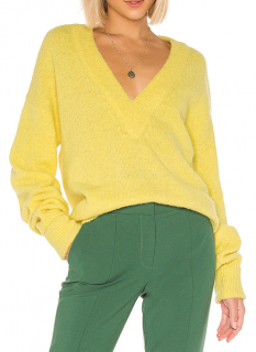 Tibi Yellow Airy Alpaca V Neck Pullover