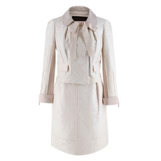 Louis Vuitton Cream Embroidered Jacquard Jacket & Skirt