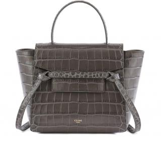 Celine grey croc-embossed Nano Belt Bag