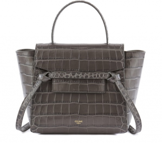 Celine grey croc-embossed Nano Belt Bag