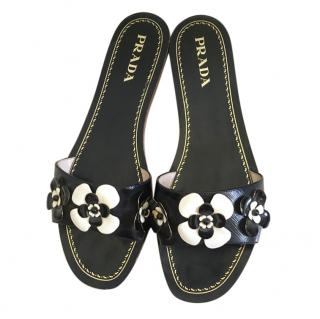 Prada embellished black leather flat sandals