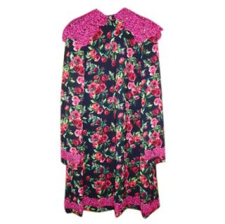 Dolce & Gabbana Cady black & pink floral crochet trim dress