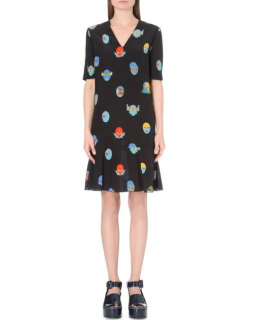 Stella McCartney Superhero Print Silk Dress