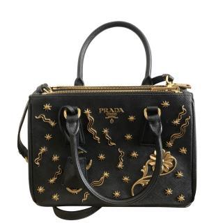 Prada black Star x Moon saffiano leather Gallaria bag