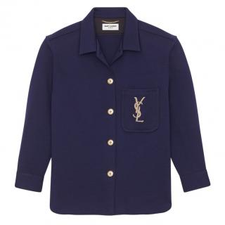 Yves Saint Laurent navy embroidered over-shirt