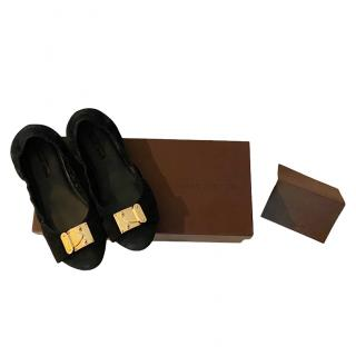 Louis Vuitton black & gold suede ballet flats