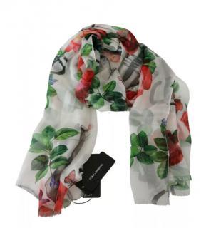 Dolce & Gabbana White Floral Print Silk Scarf