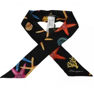 Dolce & Gabbana Black Starfish Print Twilly