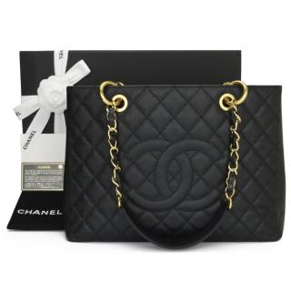 Chanel Caviar Leather Black Quilted GST