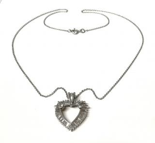 Bespoke 14ct White Gold Baguette Diamond Heart Pendant