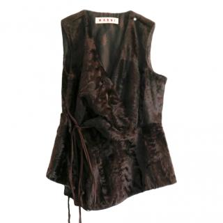 Marni dark brown lamb fur gilet