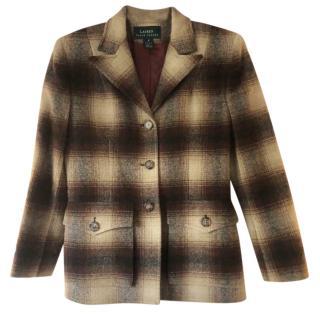 Lauren Ralph Lauren brown check single-breasted jacket