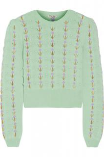 Miu Miu mint green floral cashmere knitted jumper