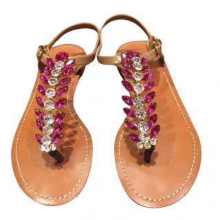 Dolce & Gabbana pink & clear rhinestone embellished sandals