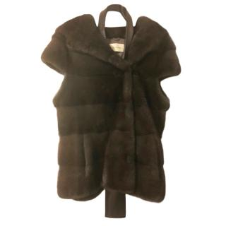 Yves Salomon brown mink hooded gilet