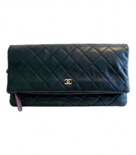 Chanel black leather flap clutch bag