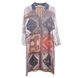 Etro multicolour pattern long-sleeve dress