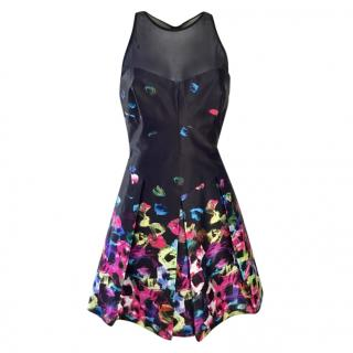 Milly black & multicoloured mesh insert mini dress