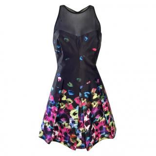 Milly black & multicoloured mesh insert mini dress US size 8