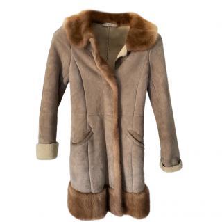 Prada beige suede & mink fur trimmed coat