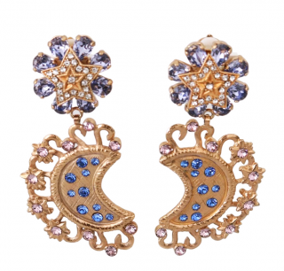 Dolce & Gabbana Star & Moon Crystal Embellished Drop Earrings
