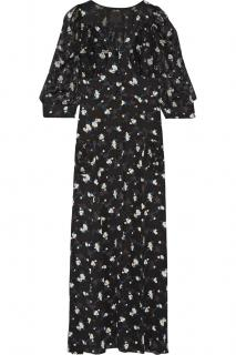 Anna Sui black floral printed fil coupe & crepe maxi dress