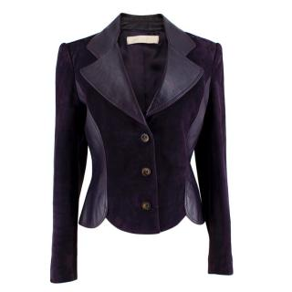Valentino Purple Leather & Suede Tailored Jacket