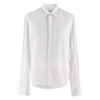 Maison Margiela White Paneled Cotton Button Down Shirt