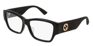 Gucci GG0104OA black glitter arm acetate glasses