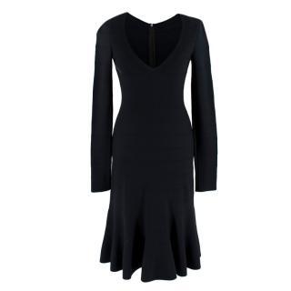 Alaia Black Knit Midi Fit & Flare Dress