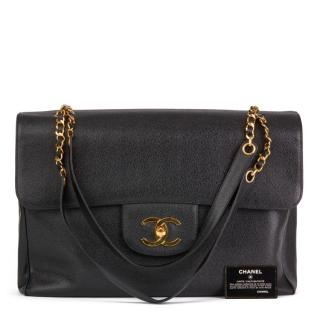Chanel vintage black Caviar leather jumbo flap bag