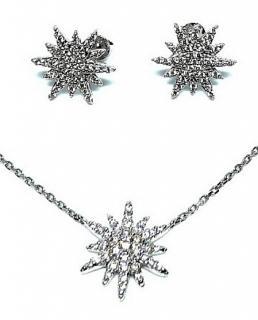 Fei Lu Crystal Snowflake Necklace & Earrings