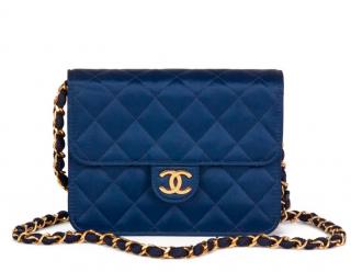 Chanel Vintage Blue Mini Flap in Satin
