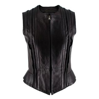 Balenciaga Fitted Dark Brown Leather Sleeveless Vest