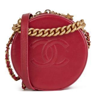 Chanel Glazed Leather Round as Earth Raspberry Crossbody Bag