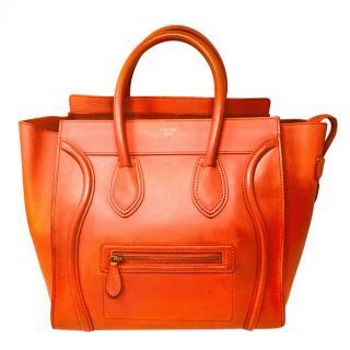 Celine Orange Large Luggage Tote Bag