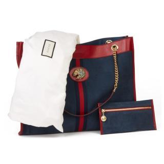 Gucci Blue Suede Large Rajah Tote Bag