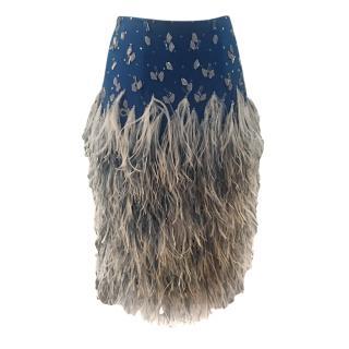 Jenny Packham Blue Crystal Embellished Skirt with Marabou Feather Trim