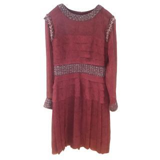 Chanel burgundy tweed & silk chiffon pleated dress
